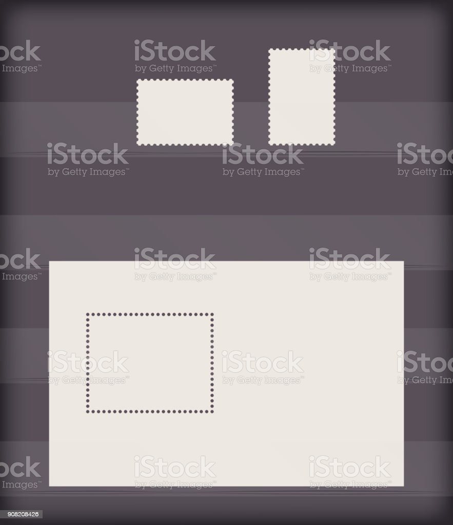 vector set of clean templates of postage stamps in the pockets on