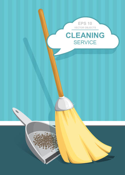 Vector Set of cleaning service elements. Cleaner. Cleaning supplies. Housework tools, House cleaning. Garbage, dustpan and brush. Template for banners, web sites, printed materials, infographics vector art illustration