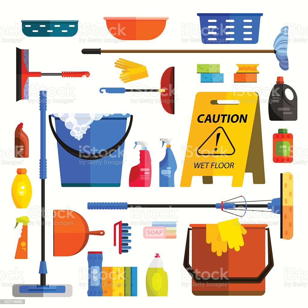 Vector set of cleaning tools. Flat design style. vector art illustration