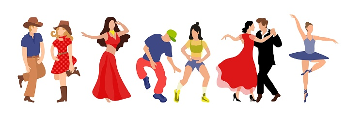 Vector set of clip-art professional dance couple dancing tango, country, hip hop, belly dance, ballet. Illustration of a flat faded style for the design of a competition poster or dance school.