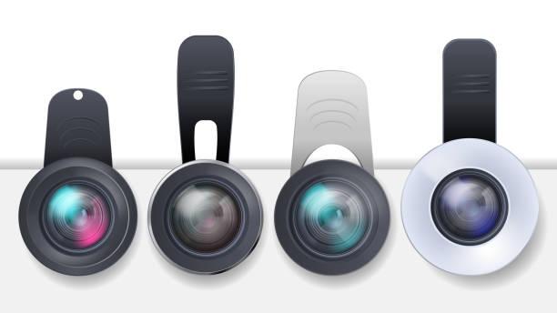 Vektorsatz von Clip-on-Objektiven für mobile Geräte – Vektorgrafik