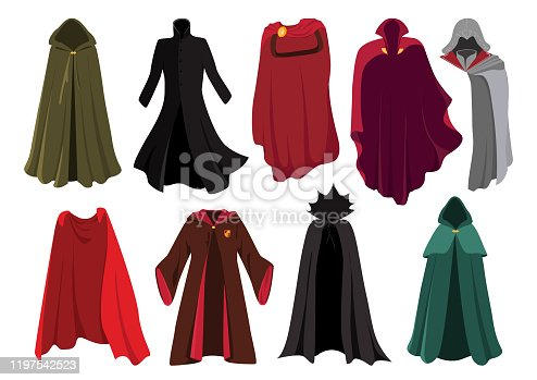 Cloaks. Carnival clothes. Costumes from famous movies. Red cape super heroes, lothing characters from the comics. Gladiator, wizard, elf.