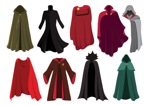 Vector set of cloaks. Cloaks party clothing and capes costume set. Cloaks. Carnival clothes. Costumes from famous movies. Red cape super heroes, lothing characters from the comics. Gladiator, wizard, elf. headland stock illustrations