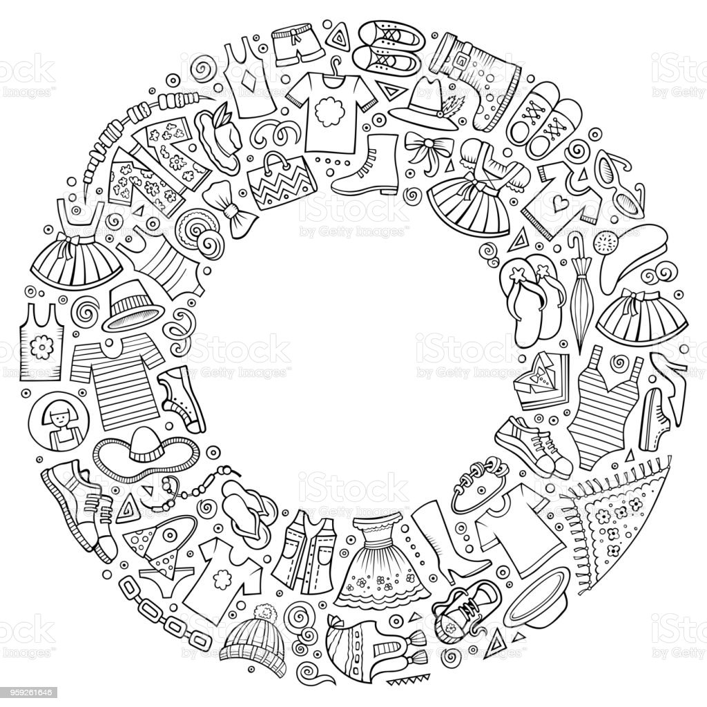 Vector set of Clothes cartoon doodle objects vector art illustration