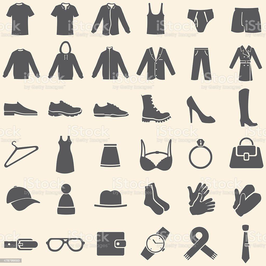 Vektor-Satz von Kleidung Symbole – Vektorgrafik