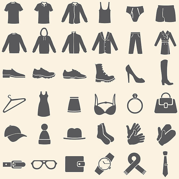 vector set of clothes icons - shoes fashion stock illustrations, clip art, cartoons, & icons