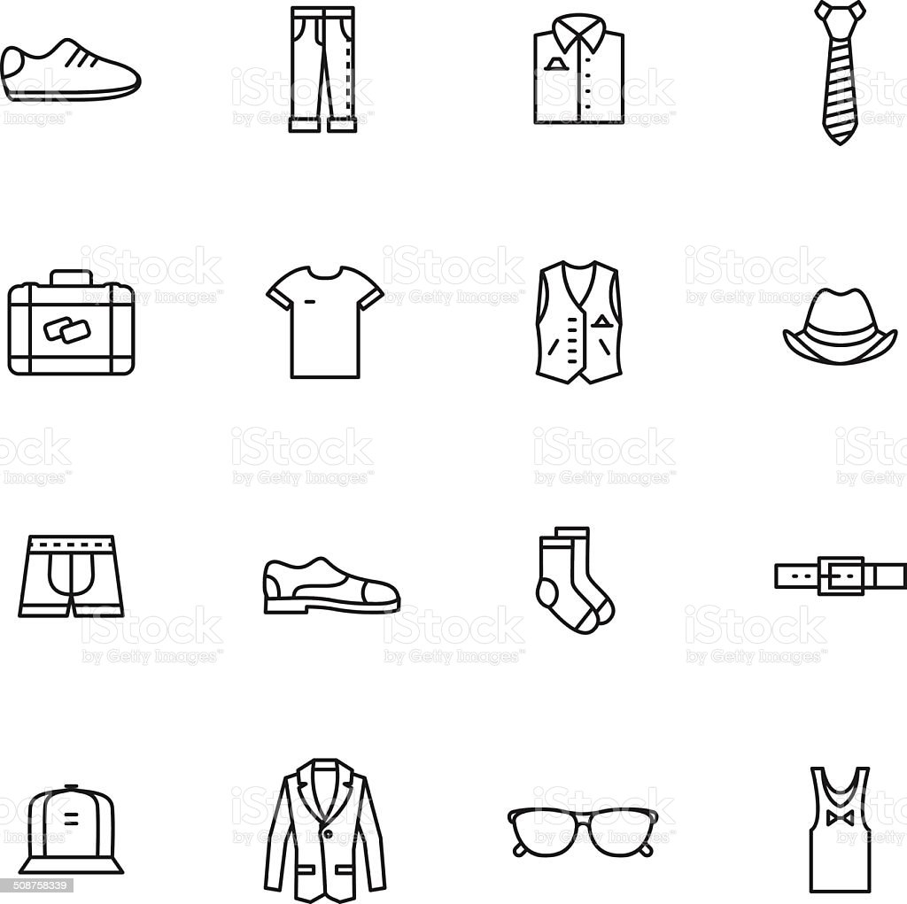 Vector set of clothes icons vector art illustration