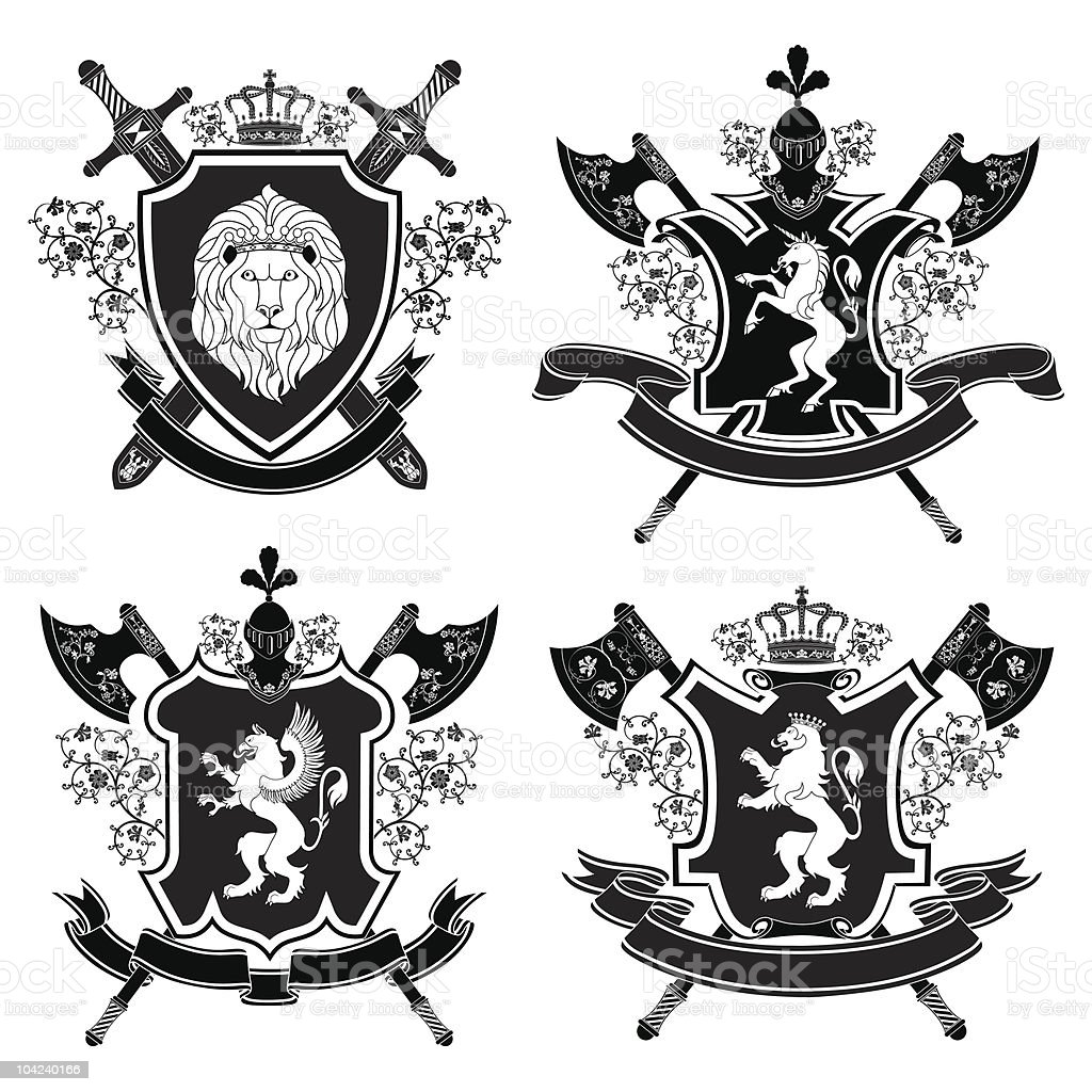 A vector set of coat of arms on a white background royalty-free stock vector art