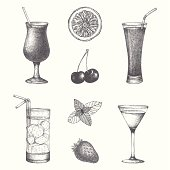 Vector set of cocktails and fruits. Hand drawn cocktail illustrations isolated on white