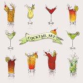 a vector set of cocktails in color, for your menu, flyers and other production