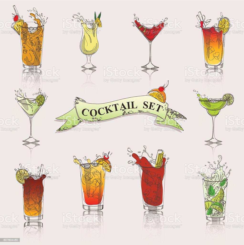 vector set of cocktails in color vector art illustration