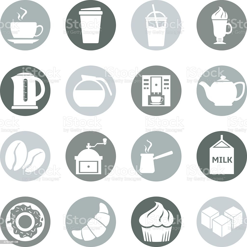 Vector Set of Coffee Icons. Icons for Coffee Shop. vector art illustration
