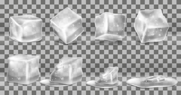 Vector set of cold solid ice cubes and melting Vector realistic set of cold solid ice cubes, melting process of icy blocks with drops and water puddles, isolated on transparent background. Decorative elements for advertising of refreshing drinks melting stock illustrations