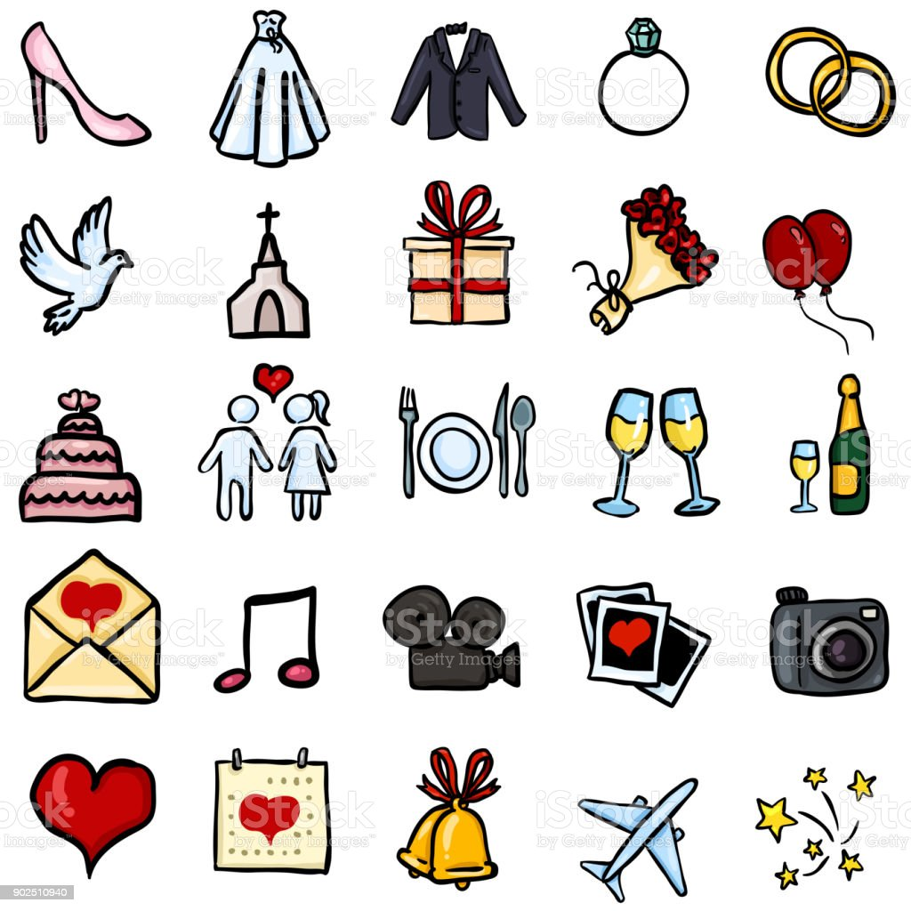 Vector Set Of Color Doodle Icons Wedding Symbols Stock ...