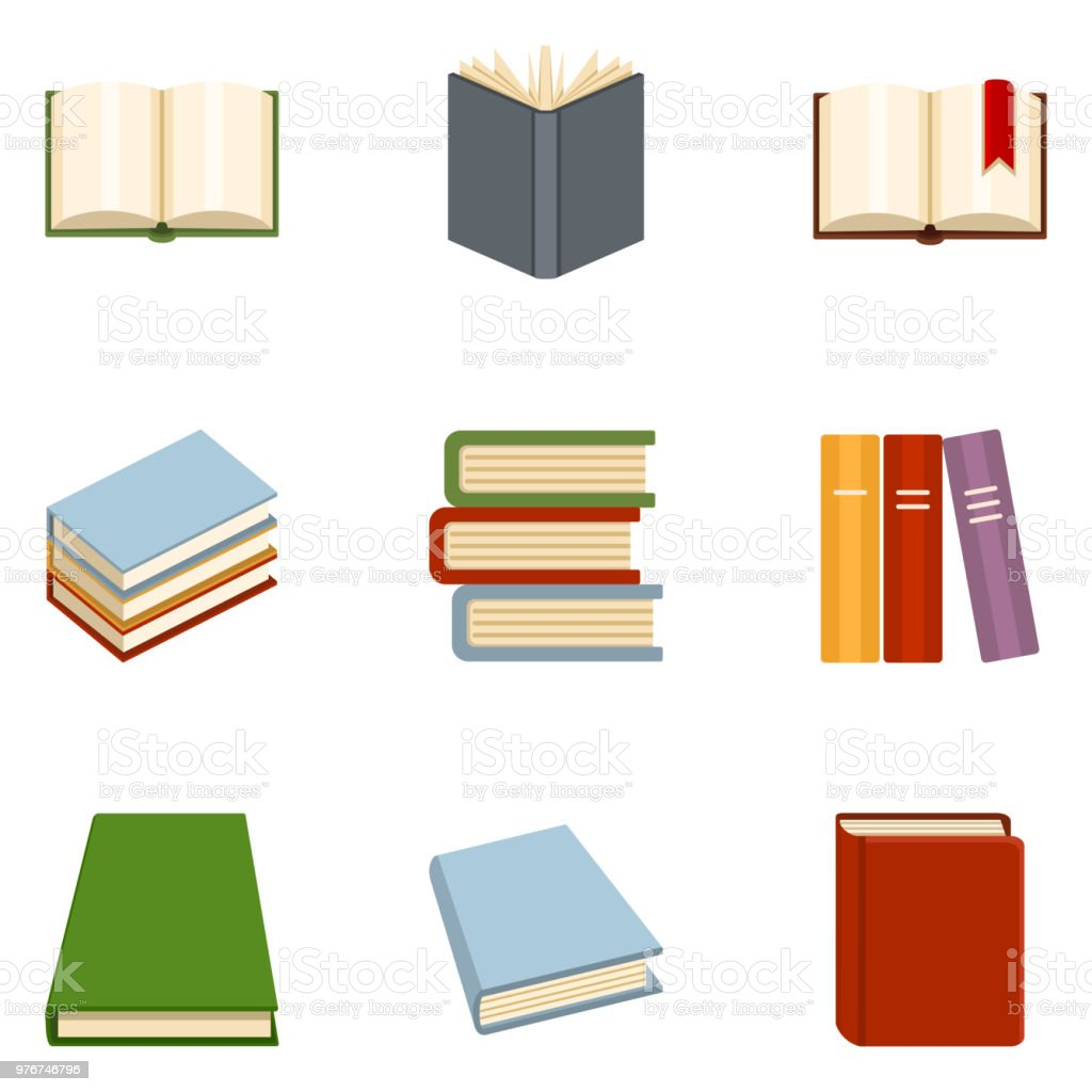 Vector Set of Color Flat Book Icons. vector art illustration