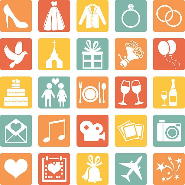 vektor-satz von farbe hochzeit symbole - kirchenschmuck stock-grafiken, -clipart, -cartoons und -symbole