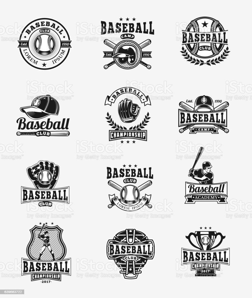Vector set of colored baseball badges, stickers, emblems vector art illustration
