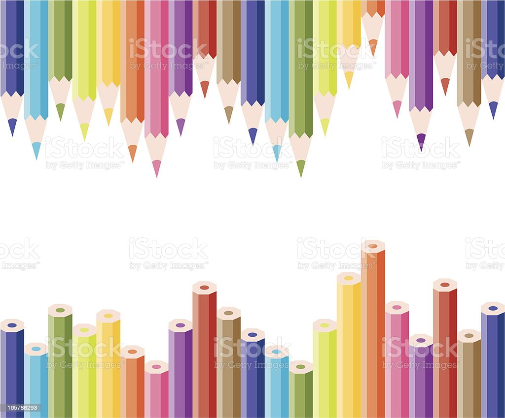 vector set of colored pencils vector art illustration