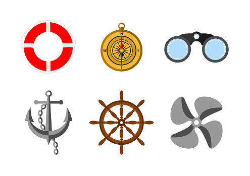 Vector set of colored realistic nautical icons