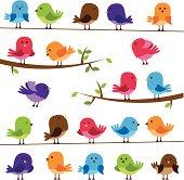 Vector Set of Colorful Cartoon Birds