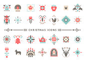 Vector set of colorful Christmas icons in Scandinavian flat style.