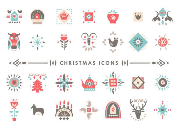 ilustrações de stock, clip art, desenhos animados e ícones de vector set of colorful christmas icons in scandinavian flat style. - hygge