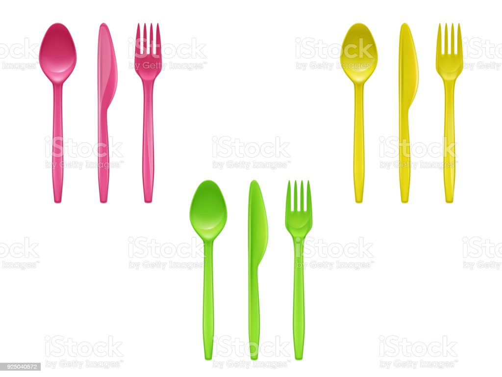 Vector set of colorful disposable tableware vector art illustration
