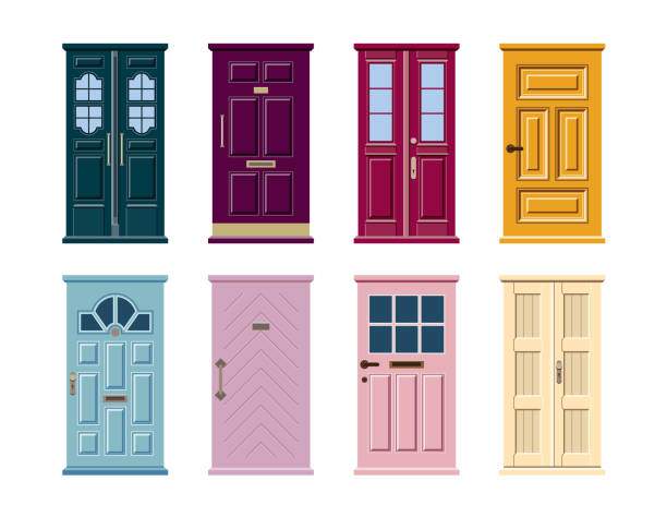 Vector set of colorful door icons isolated on white background. Vector set of colorful door icons isolated on white background. Blue, pink, yellow, green, violet, purple, turquoise front door stock illustrations