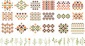 Set of colorful ethnic patterns with geometric ornaments, decorative herbs and flowers. Small twigs of different plants. Graphic elements for postcard, textile or invitation. Isolated vector design.