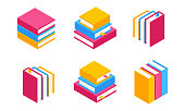 Vector Set of Colorful Horizontal and Vertical Stacks of Books in Isometric.