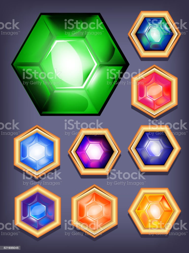 Vector set of colorful shiny jewels. vector art illustration