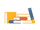 Vector Set of Colorful Stacks of Books in flat style.