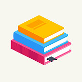 Vector Set of Colorful Vertical Stack of Books in Isometric.Education Infographic Template Design with Books Pile.Set of Book Icons in Flat style isolated from white background