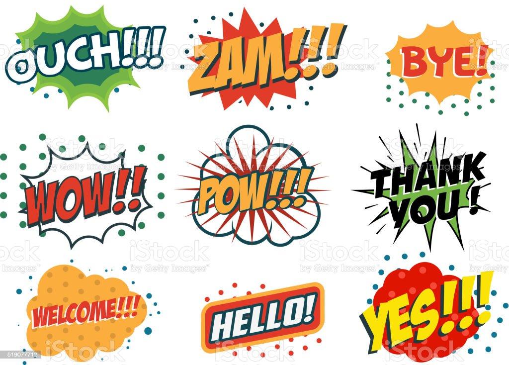 Vector set of comic speech bubbles in trendy fla style. vector art illustration