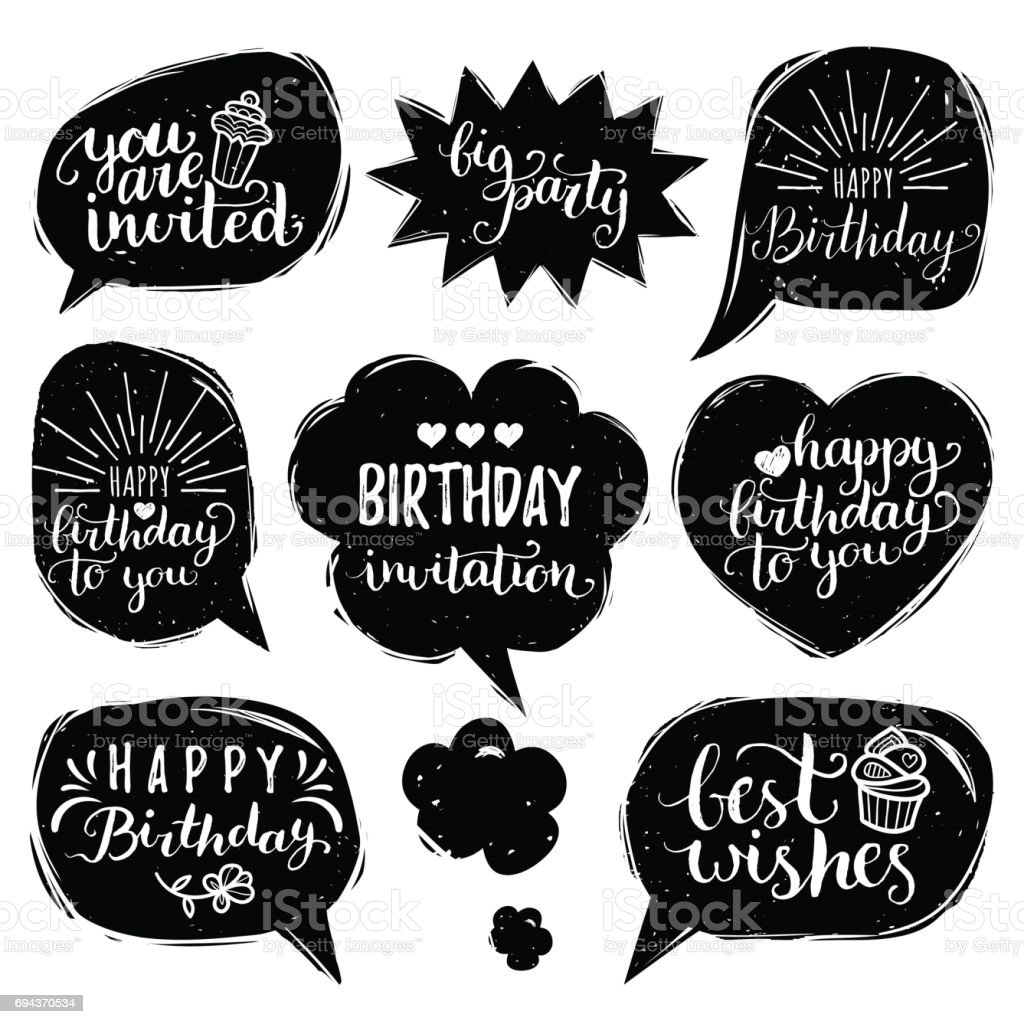 Vector set of comic speech bubbles with happy birthday vector set of comic speech bubbles with happy birthday inscriptions calligraphy set for greeting bookmarktalkfo Choice Image