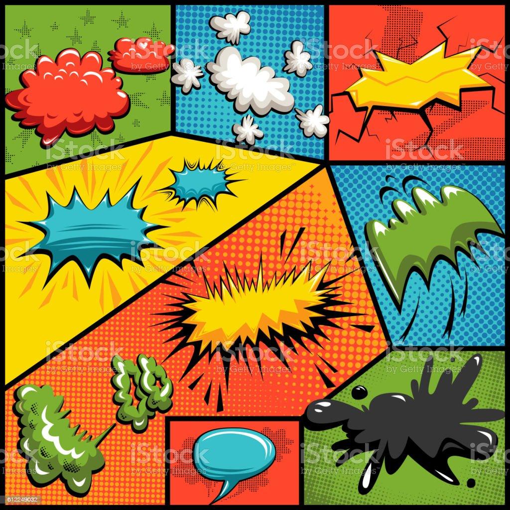 Vector set of comics explosion bubbles vector art illustration