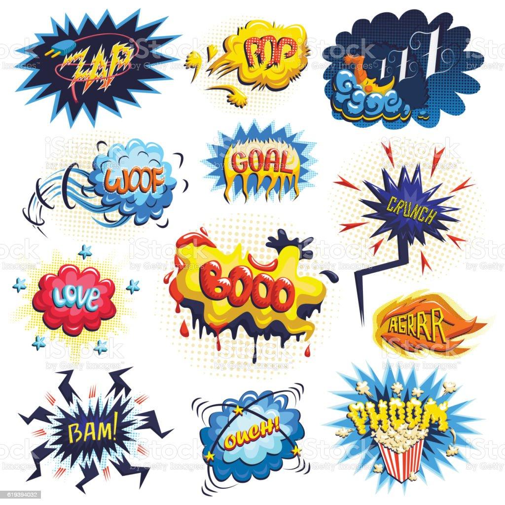 Vector set of comics icons vector art illustration