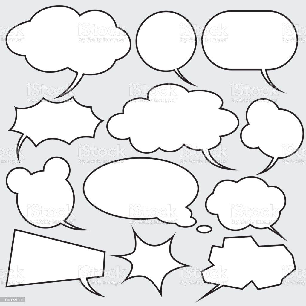 vector set of comics style speech bubbles vector art illustration