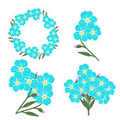 istock vector set of compositions of flowers and forget me not buds:the inscription Spring, an inflorescence of forget-me-not buds, a small bouquet, cartoon baskets with flowers,frames.Stock illustration 1300776102