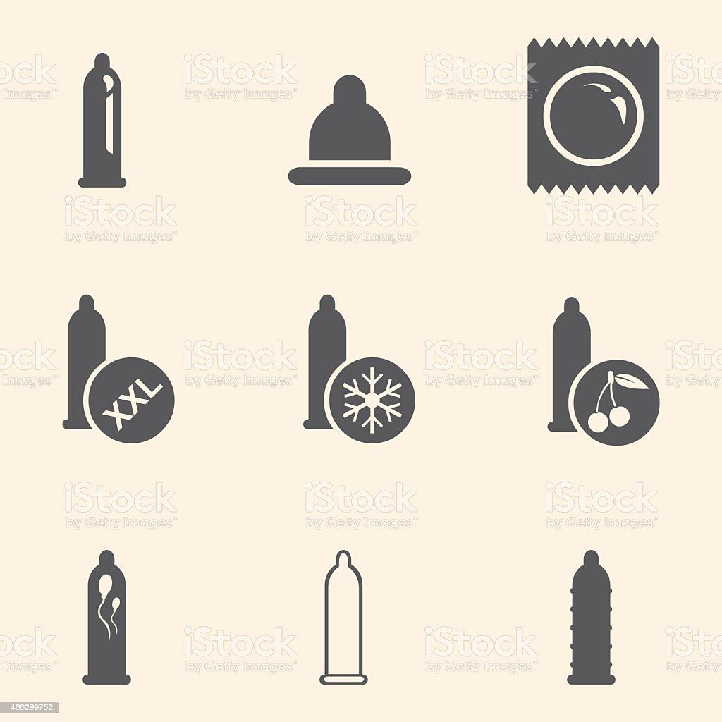 Vector Set of Condom Icons. Types of Condoms. vector art illustration