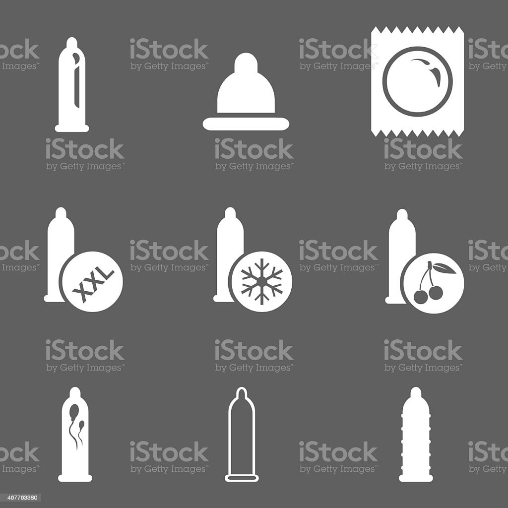 Vector Set of Condom Icons. Types of Condoms. vector art illustration
