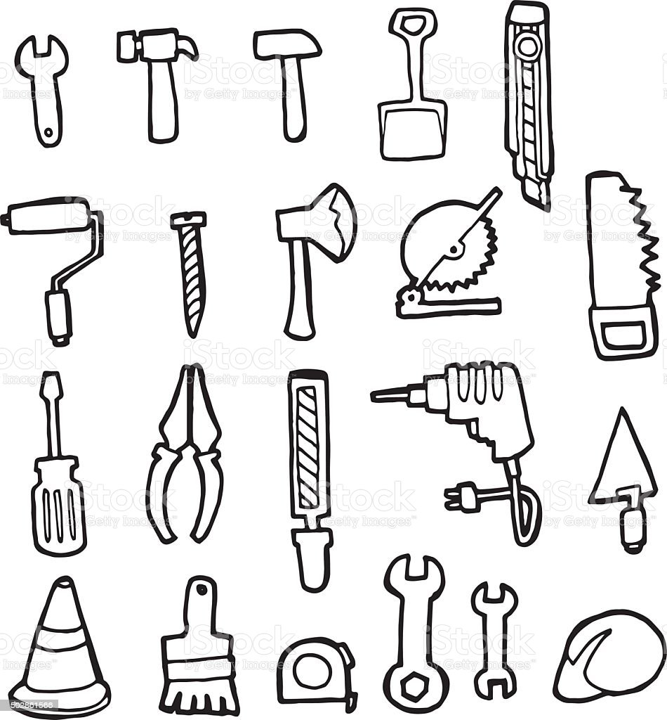 Vector Set Of Construction Tools Stock Illustration