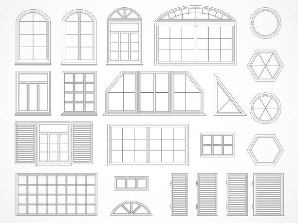 stockillustraties, clipart, cartoons en iconen met vector set contouren ramen en luiken. - boog architectonisch element