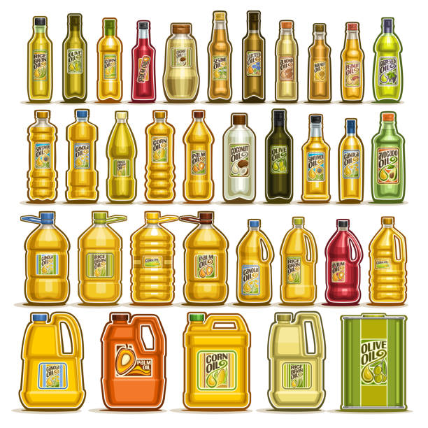 ilustrações de stock, clip art, desenhos animados e ícones de vector set of cooking oil in bottles - palm oil bottles