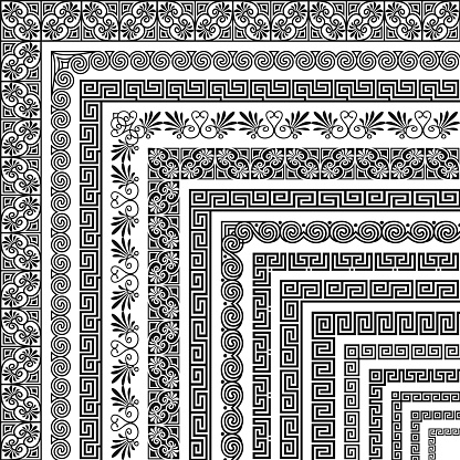 Vector set of corner brushes, ethnic greek meander pattern. Wide and narrow classical ornament in Hellenic style for the design of frames, boarders, edging, certificate, menu, invitation, wedding card