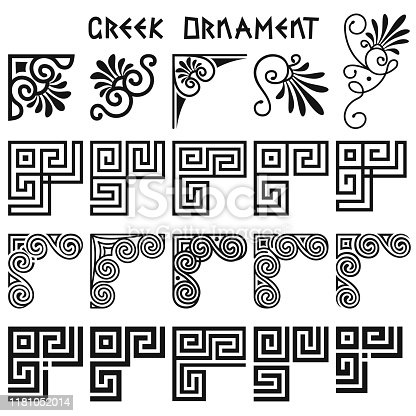 Vector set of corner design elements in greek style