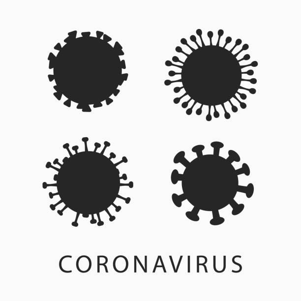 vektorsatz von coronavirus-vektorsymbolen isoliert auf weißem hintergrund. - flat icons stock-grafiken, -clipart, -cartoons und -symbole
