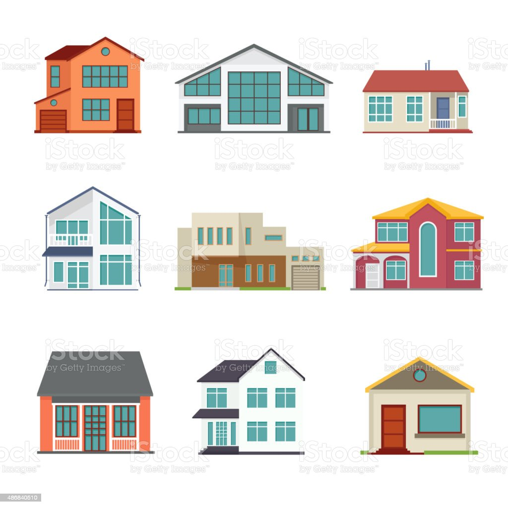 Vector set of cottage building flat icons vector art illustration