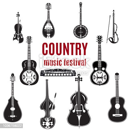 Vector set of country music instruments. Black and white design elements isolated on white background.