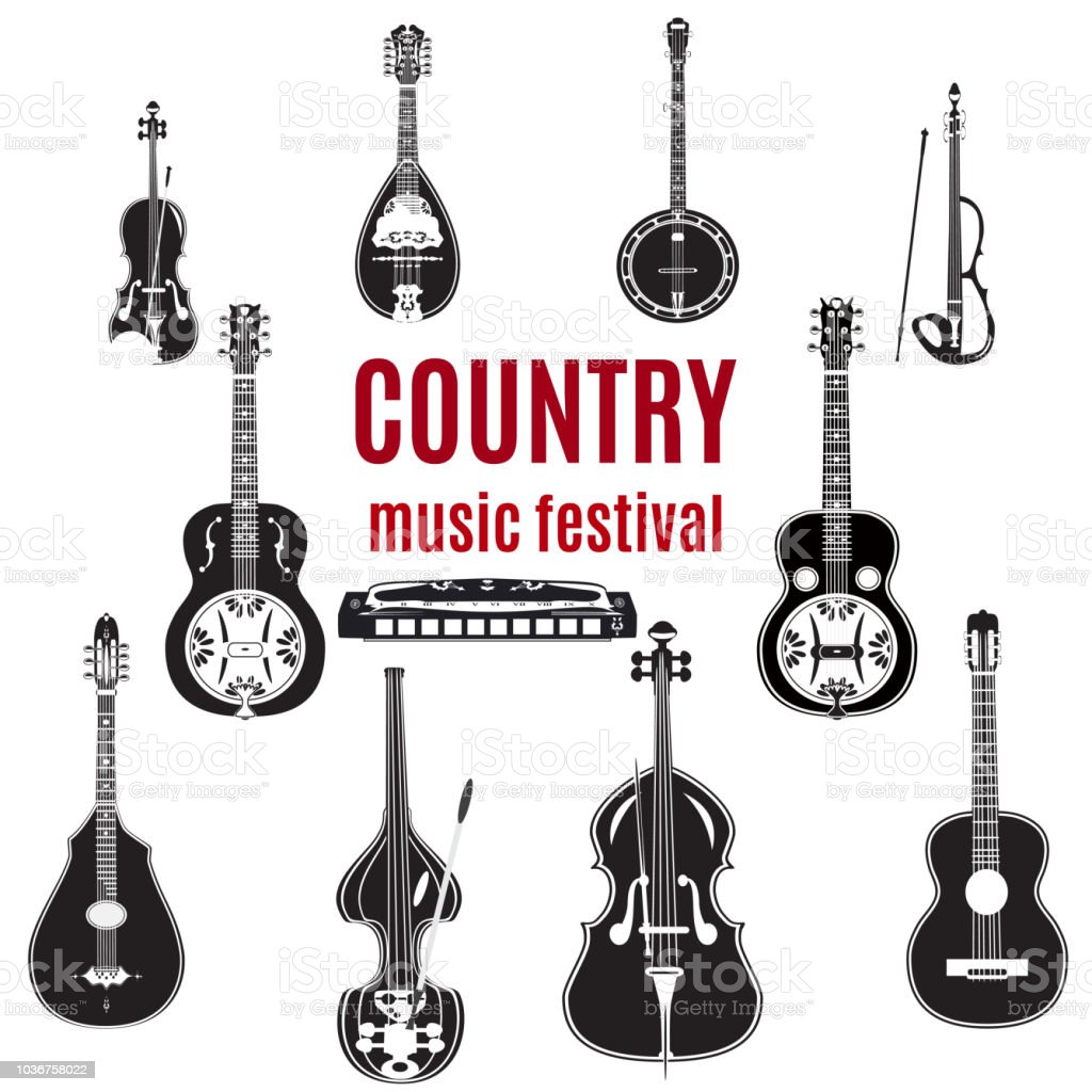 Vector set of country music instruments, black and white design vector art illustration